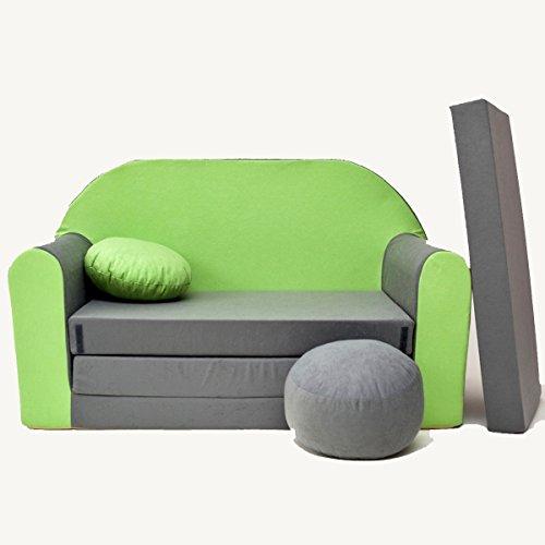 Minicouch Kindersofa Babysofa Sofa Set Sitzkissen Matratze weiche Velours verschiedene Farben (A1 grau grün)