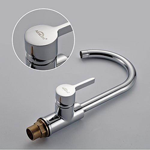 Auralum® 2 Jahre Garantie Niederdruck Mischbatterie mit Groß C Form 360° Drehbar Armatur Wasserhahn Küchearmatur Einhandmischer für Spüle Küche - 4