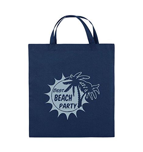 Comedy Bags - BEST BEACH PARTY - PALMEN - Jutebeutel - kurze Henkel - 38x42cm - Farbe: Schwarz / Silber Navy / Eisblau