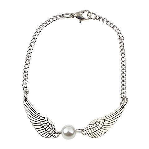 Kolylong Bracelet Femme Argent Infinity Perles RéTro Ailes D'Ange Bijoux Bracelet Peace Dove