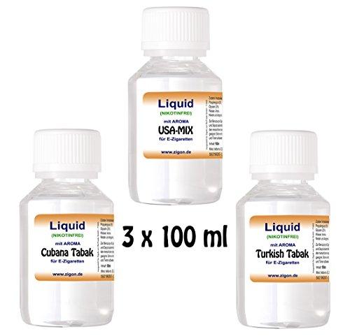 3 x 100 ml E-Liquid - ZigoN (USA-MIX/CUBANA/TÜRKISH Tabak)