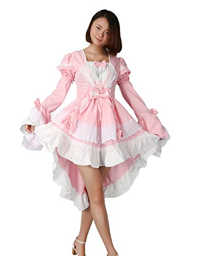 Très Chic Mailanda Damen Gothic Damen Karneval Fasching Cosplay Kostüm Abendkleid (M, Pink) (Schule Konzert Kostüme)