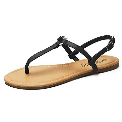 SANDALIP Damen mit Flachen Sandalen Knöchelriemen Sommer Tanga mit u - Bügel Schwarz 07 - Leder Bügel Riemen