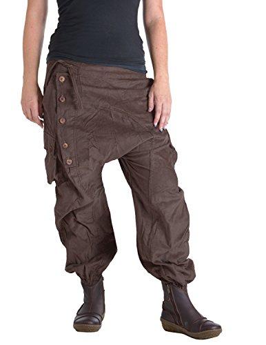 Vishes – Alternative Bekleidung – Haremshose aus Cord mit Tunnelzug dunkelbraun 42 bis 44