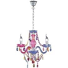 Reality R11073017 Leuchten - Lámpara con 3 luces, bombillas excluidas, E14, 40 W, 230 V, A++, E, IP20, alto de 150 cm, diámetro de 40 cm, acrílico, multicolor
