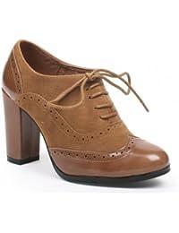 Ideal Shoes - Richelieu bi-matière à talons Divia