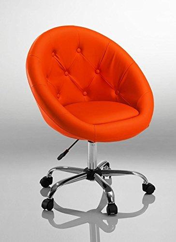 Drehstuhl Schreibtischstuhl Orange Rollhocker mit Lehne Arbeitshocker Kosmetikhocker Duhome 0539