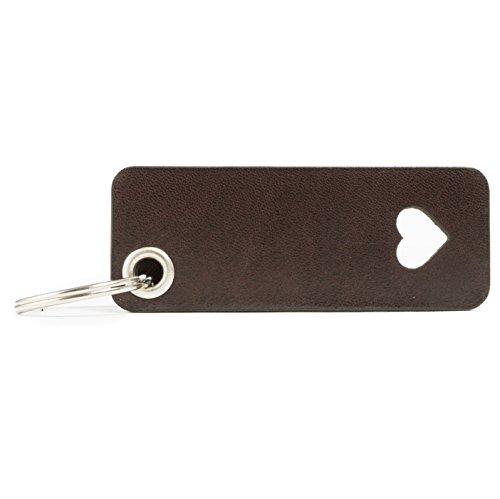 Gutes Leder (HUNTON - Herz-Symbol - Leder Schlüsselanhänger - Echtleder Liebe Valentinstag - 4mm Öse)