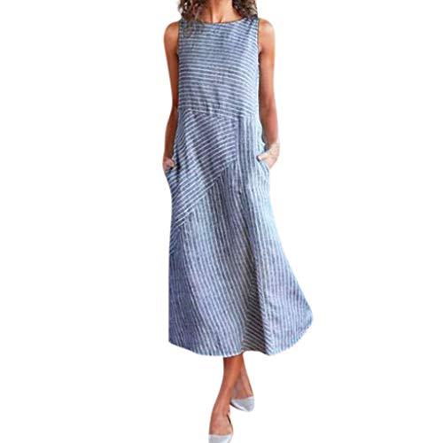 eift Patchwork Leinenkleid Rundhals Armellos Freizeit Kleider Vintage Baggy Etuikleid Elegante Lose Strandkleider Festkleider Swing Kleid Sommerkleid (XL, Blau) ()