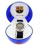 FC Barcelona-Reloj analógico infantil con fondo azul, con caja de regalo en forma de balón del FC Barcelona