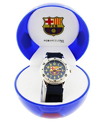 FC Barcelona–Reloj analógico infantil con fondo azul, con caja de regalo en forma de balón FC Barcelona