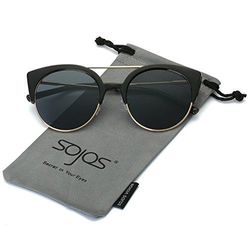 SojoS Gafas De Sol Mujer Marco Metal Ojo De Gato Clásico Retro Vintage SJ2035 Marco Negro/Lentes Grises
