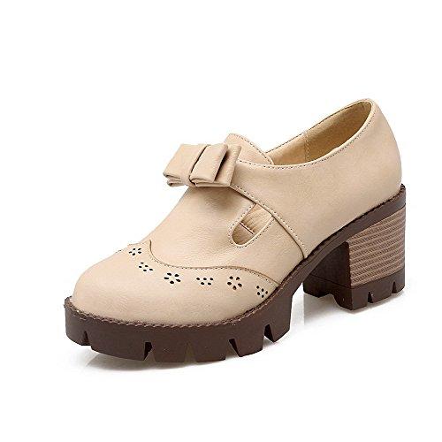 AllhqFashion Femme Rond à Talon Haut Matière Souple Couleur Unie Tire Chaussures Légeres Beige