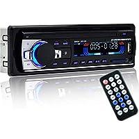 مُشغل راديو ستريو للسيارة يعمل بالبلوتوث بكابل منفذ مساعد، ام بي 3، اف ام/ يو اس بي / 1 دين / جهاز تحكم عن بُعد في صوت السيارة بقوة 12 فولت من ينس