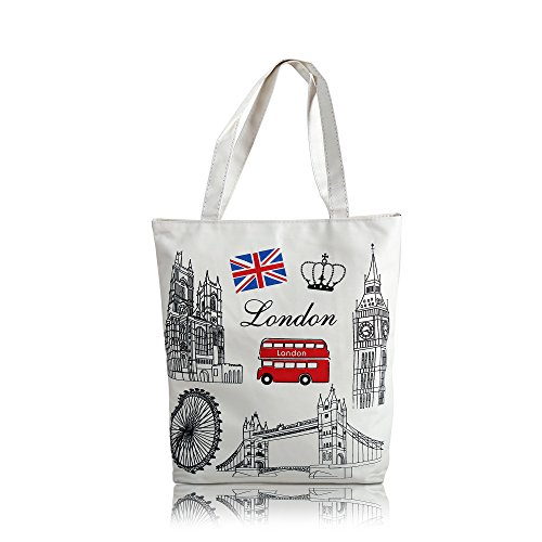 mStick Women's Zipped Fashion Canvas Tote Large Space Zipper Hand Bag - London Doodle