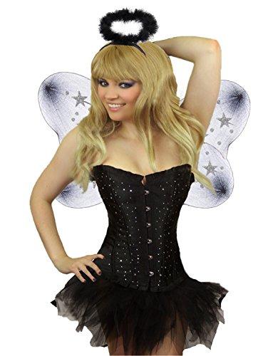 mit Tutu Rock Teufel Schwarzer Engel Halloween Kostüm + Flügel Hörner Dreizack Damen Größe 34 - 52 (Schwarz Engel 34-36) (Engel Und Teufel Halloween-kostüme)