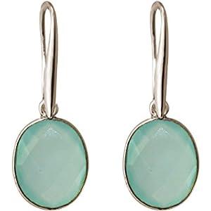 Gemshine Handmade - Ohrringe - Ohrhänger - Silber - Chalcedon - Meeresgrün - 5 cm