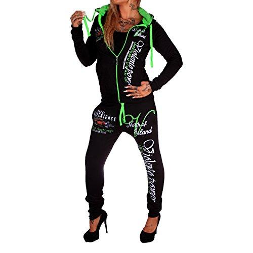 Damen Jogging-Anzug Violento Power | 677 (M= versendet L, Schwarz-Grün) (Frauen Anzug-jacken)