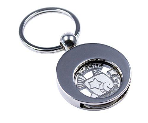 Hochwertiger Schlüsselanhänger mit Einkaufswagenchip Sternzeichen Fische -