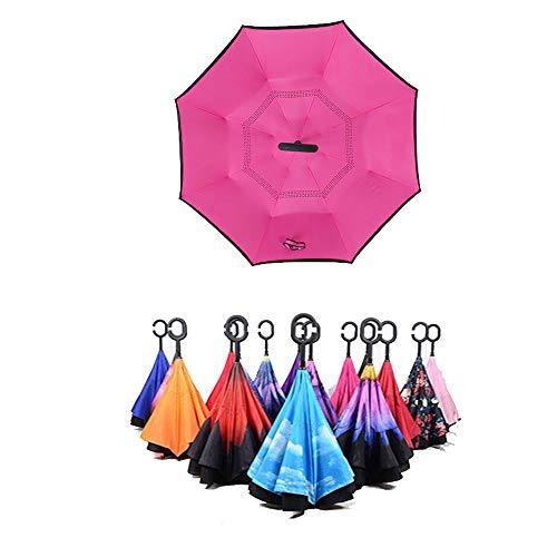 Regenschirm Rückschirm C-Typ ohne Schirm Sonnenschirm UV-Schirm mit langem Griff (rosarot) -