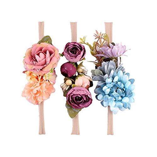 Ever Fairy Raffhalter Blumen Krone ELASTISCH Blumen Stirnband Baby Mädchen Blumenmuster Krone Kranz Neugeborenes Haarzubehör Party Versorgungen - 3 Farben Packung - D, One Size (Kleider Mädchen Fairy)