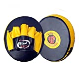#6: Hind Sports Leather FA-2005 Focus Pads (Size : 6 Oz To 16 Oz__Black & Yellow)