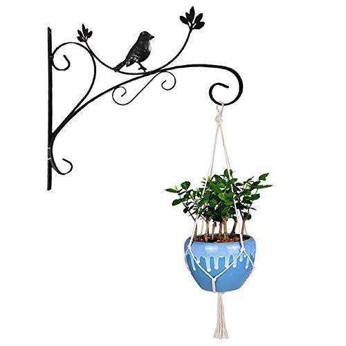Yuccer Haken Wandhalterung, Pflanzen Haken Gusseisen Dekorativ Blumenampelhalter für Pflanztöpfe, Laterne, Windspiele (Schwarz)