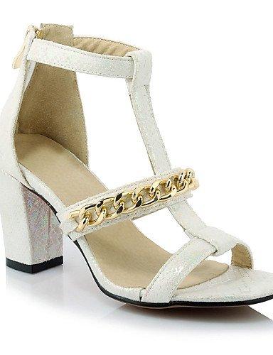 UWSZZ IL Sandali eleganti comfort Scarpe Donna-Sandali-Formale / Casual / Serata e festa-Cinturino-Quadrato-Finta pelle-Nero / Bianco Black