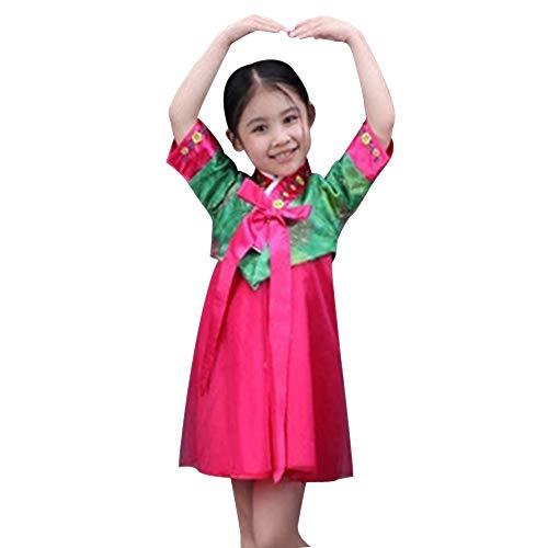 Kinder Koreanisch Kostüm Mädchen - XFentech Koreanisches Mädchen Hanbok Kleid - Mädchen Hübsch Süß Bezaubernd Klassische Bühnenshow Cosplay Kostüm, Grün+Rose Rot, EU 90=Tag 100