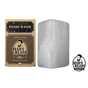 Man's Beard–Echter Alaunstein, Block von 75g–ohne Aluminium-Hydrochlorid –Natürlicher Deodorant–lindernd für Reizungen nach der Rasur