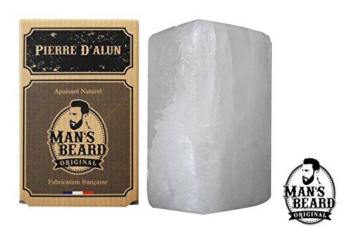 Man's beard - Véritable Pierre d'Alun en Bloc 75 g - Sans chlorhydrate d'aluminium - Déodorant NATUREL - Apaise les irritations dues au rasage