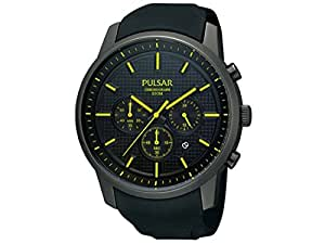 Pulsar Uhren - PT3193X1 - Montre Homme - Quartz Chronographe - Chronomètre - Bracelet Caoutchouc Noir