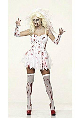 Damen-Zombie Braut Halloween Kostüm + GRATIS Schleier - Damen - Ein Zombie Braut Kostüm