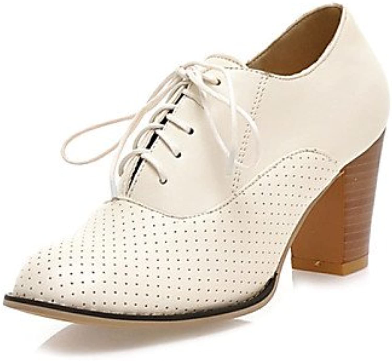 njx/Hug Damen Schuhe Chunky Ferse rund Heels Casual Schwarz/Pink/Weiß/Beige