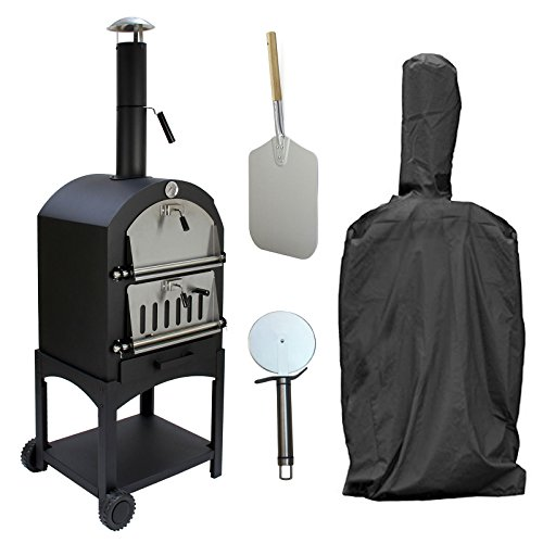 KuKoo Outdoor Pizza Oven, Pizza Peel, Pizza Cutter & Rain Cover, Wood Fired Charcoal Garden Oven, BBQ & Smoker