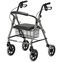Patterson Medical Four Wheeled Roller Walker mit Kabelbremsen - Rot