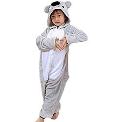 Magicmode Unisex Niños De Dibujos Animados De Color Gris Koala De Una Pieza Enterizo De Pijamas Traje De Cosplay 140cm