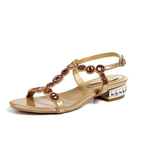 TRFLH& 2018 New Summer Rhinestone Gladiator Peep Toe Crystal Low Heels Sandals Women Bridesmaid Sandalias Wedding Party Shoes L004 Gold 5 Anne Klein Peep Toe