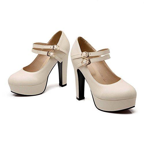 AllhqFashion Femme Couleur Unie Pu Cuir à Talon Haut Rond Boucle Chaussures Légeres Beige