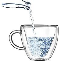 Yeppers Tasse /à Double paroi 390 ML No.1 avec Visage//Tasses Thermiques//Tasses en Verre//Tasses /à th/é//Tasses /à caf/é /à Effet Flottant by Feelino