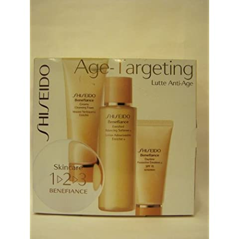 Shiseido - Age Targeting - 3 Pc the Skincare 1-2-3 Benefiance Set Kit: Creamy Cleansing (3.3 Ounce Cleansing Foam)