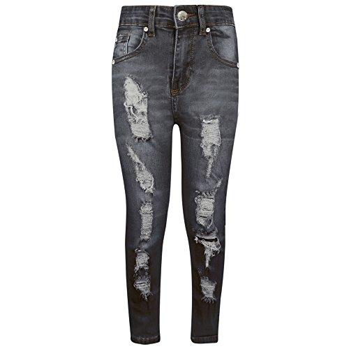 A2z 4 kids® bambini elasticizzati jeans ragazzi jeggings nero strappato - b.j skinny. black 7-8