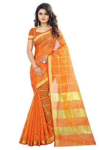 Chakudee Women's Orange Colour Cotton Silk Saree With Blouse Piece Material