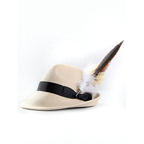 ALMBOCK Trachtenhut Damen mit Feder | Trachtenhüte in vielen Farben und den Größen S M L | Trachten Hut hergestellt aus Woll-Filz (S (54cm), Beige | Modell H10)