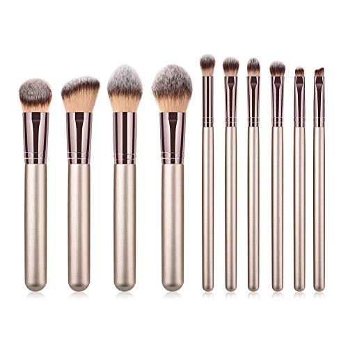 Dosige 10 pcs Set Multifonctionnel Pinceaux Professionnel Pinceaux de Maquillage Yeux Brosse de Brush Cosmétique Professionnel -Tube en Aluminium Brun