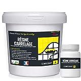 peinture pour carrelage cuisine salle de bain résine rénovation meuble - RAL 9001 Blanc crème - Kit 1kg jusqu'à 10 m² pour 2...