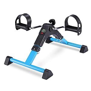 FITODO Mini Fahrrad Pedaltrainer für Arm- und Beintrainer Heimtrainer mit LCD-Monitor Faltbare