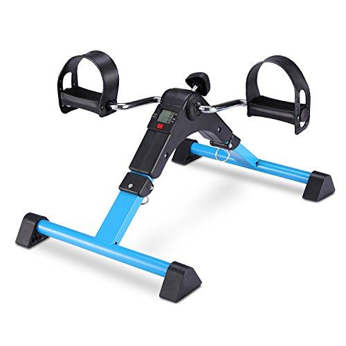 FITODO Mini Fahrrad Pedaltrainer für Arm- und Beintrainer Heimtrainer mit LCD-Monitor Faltbare(Blau)