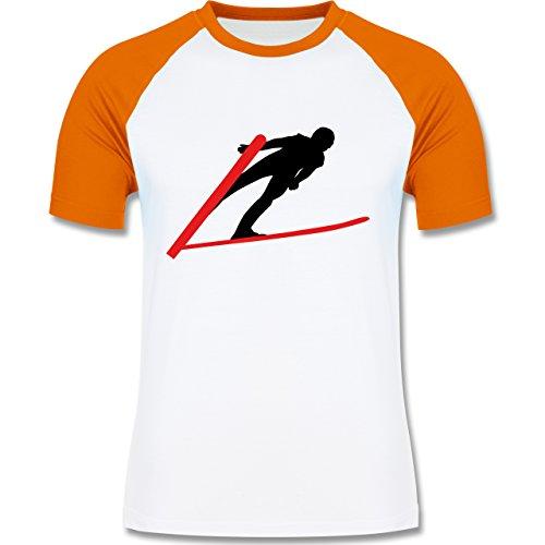 Wintersport - Skispringer Skispringen - zweifarbiges Baseballshirt für Männer Weiß/Orange