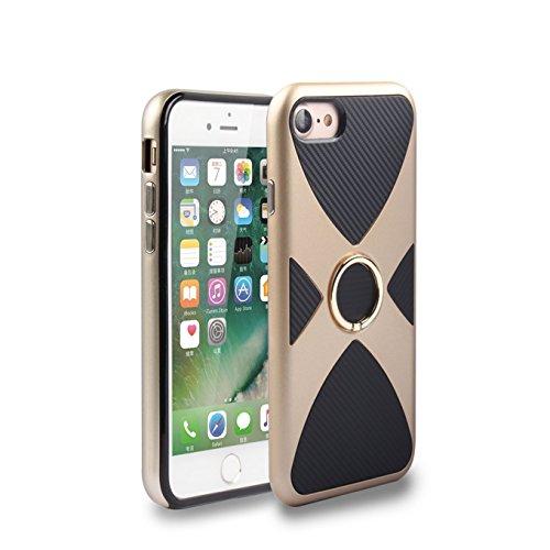 iPhone 7 Hülle,AyiHuan iPhone 7 Dünne Extra Harte Schutzhülle Dual Layer Hybrid Case Outdoor Bumper mit Ständer für iPhone 7,schwarz golden